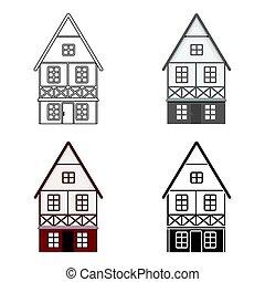Bavarian house icon in cartoon style isolated on white background. Oktoberfest symbol stock vector illustration.