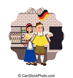 bavarian man and woman drinking in the bar