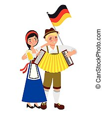 bavarian man and woman with accordion flag and beer