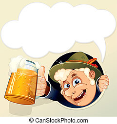 Drunk Man with empty speech bubble for your text.