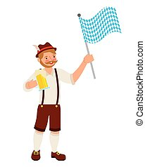 bavarian man with beer and flag