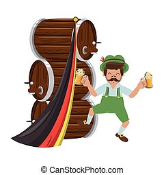 Bavarian man with beer barrels