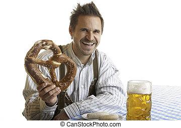 Bavarian Man with Oktoberfest Pretzel and Beer Stein (Mass)...