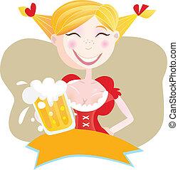 bavarian, mulher, cerveja