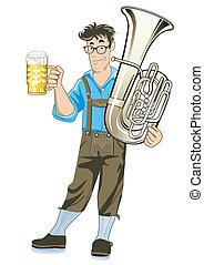 Bavarian Musician with Tuba and beer mugs