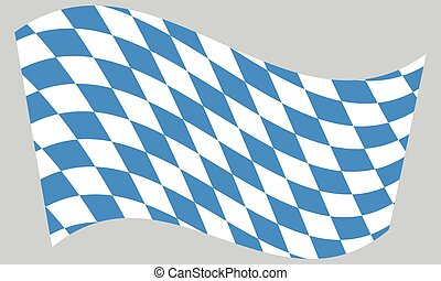 Flag of Bavaria waving on gray background