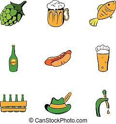 Bavarian oktoberfest icons set, cartoon style