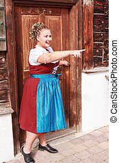 Bavarian overweight young woman in