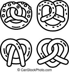 Bavarian pretzel icon set, outline style