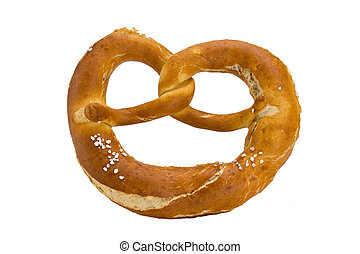 bavarian pretzel isolated on white background