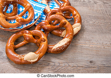 Bavarian Pretzels - Group of Bavarian pretzels on napkin