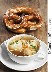 bavarian semolina dumplings in broth