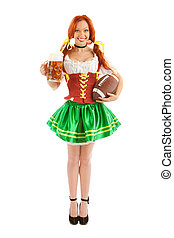 Bavarian Sexy Woman with Beer and Rugby ball