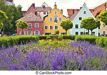 Bavarian town on springtime - Springtime in Landshut,...