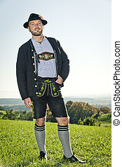Bavarian tradition - A traditional bavarian man in the...