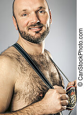 Bavarian tradition - An image of a hairy man in bavarian...