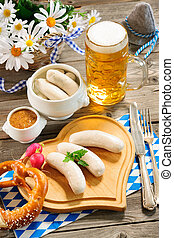 Bavarian veal sausage - Traditional Bavarian meal. White...