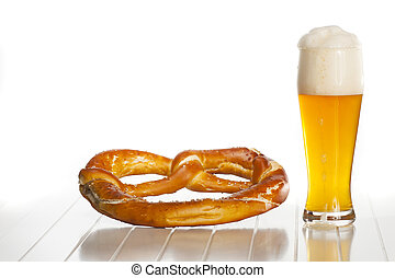 bavarian wheat beer and a pretzel