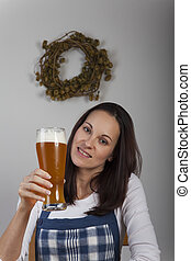 bavarian woman and a beer