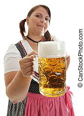 Bavarian Woman holding Oktoberfest beer in front, dressed with a Dirndl