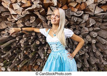 bavarian woman in a dirndl