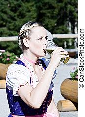 Bavarian woman in the beer garden