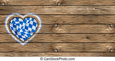 bavarian wooden board - wooden board with heart-shaped cut...