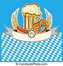 baviera, card., plano de fondo, cerveza, vector