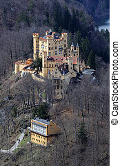 baviera, histórico, hohenschwangau, alemania, castillo