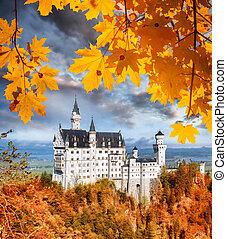 baviera, hojas, otoño, neuschwanstein, alemania, castillo
