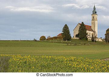 bawaria, historyczny, niemcy, kościół, mały, wiejski
