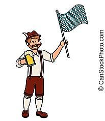 bawarka, bandera, piwo, człowiek
