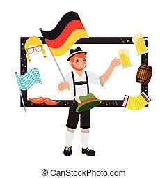 bawarka, piwo, bandera, baryłka, kapelusz, ułożyć, człowiek