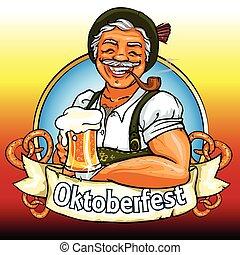 bawarka, rura, piwo, palenie, uśmiechnięty człowiek