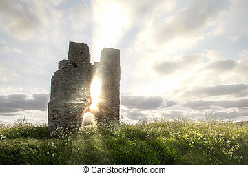 Bawsey church ruin with etherreal sunlight in Norfolk