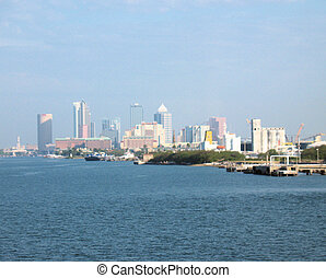 Tampa - Bay and distanced skyline of Tampa, Florida.