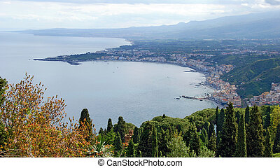 bay and town of Giardini-Naxos - panoramic view across the...