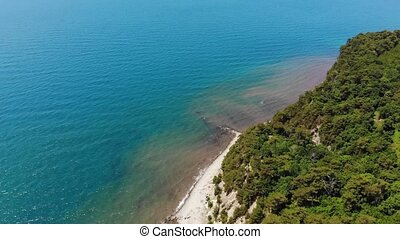 Bay at sea. Aerial Video Filming - Flight over the bay in...