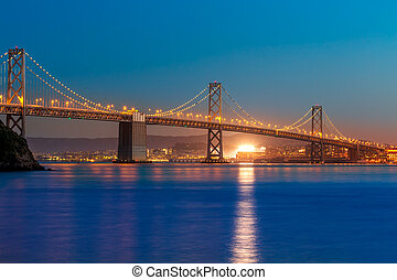 Bay Bridge at sunset in San Francisco California - Bay ...