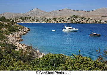 little bay, seascape in Kornati natural park, Adriatic sea, Croatia