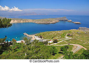 Bay in Lindos. The island of Rhodes