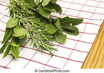 Bay leaf and rosemary