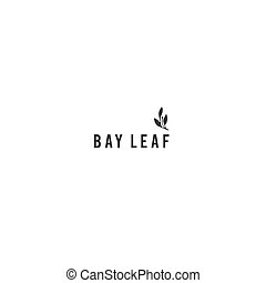 Bay leaf, kitchen logo template. Vector hand drawn object. -...