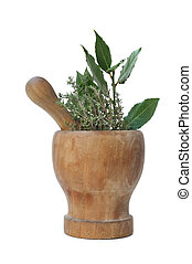 bay leaves and thyme in a pestle - branches of bay leaves...