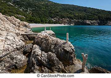 Bay near Lubenice on a sunny day in spring - Bay (Plava ...