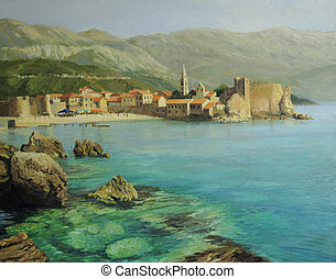 Bay near old Budva - An oil painting on canvas of the bay...