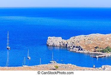 Bay near the town of Lindos. Rhodes Island. Greece