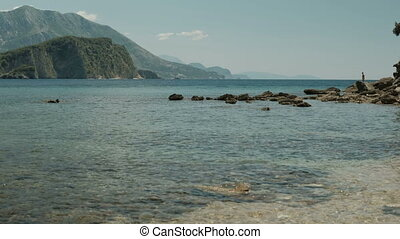 Bay of Angistri island on sunny summer day.
