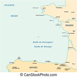 bay of biscaya vector map, france, spain.