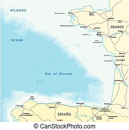 bay of biscaya vector road map, spain, france.
